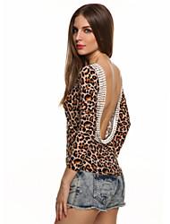 Damen Solide / Leopard Einfach Lässig/Alltäglich T-shirt,Rundhalsausschnitt Herbst Langarm Schwarz / Grau / Mehrfarbig Baumwolle Mittel
