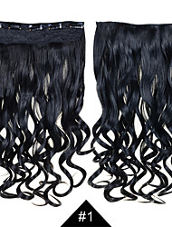 1Set Clip in Hair Extensions 24inch 60cm Long Hairpiece Curly Wavy #1 Jet Black Color 5clips Heat Resistant