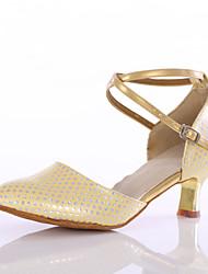Women's Dance Shoes Leatherette  Latin Ballroom Heels Galvanized Heel Indoor Blue / Pink / Gold