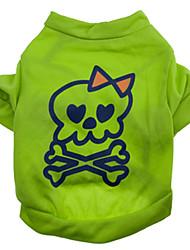 Gatos / Perros Disfraces / Camiseta Verde Verano / Primavera/Otoño Cráneos Halloween, Dog Clothes / Dog Clothing-Other