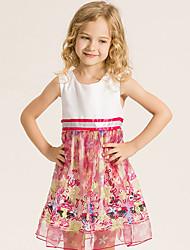 Girl's Cotton Summer Fashion Princess Dress Sleeveless Printing Dress