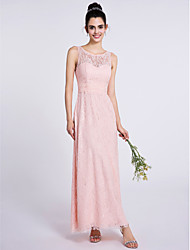 Ankle-length Lace Bridesmaid Dress - Sheath / Column Scoop with Lace