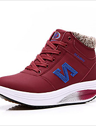 New winter lady N word leather  up shoes with high help shake warm cotton shoes body shake shoes