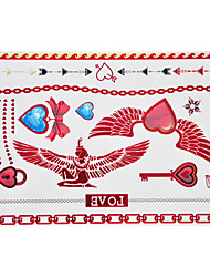 1pc Flash Metallic Waterproof Tattoo Red Gold Silver Wing Heart Lock Love Temporary Tattoo RYH-004