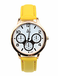 Women's  Candy Color Three Time Zones Leather Strap Printing Cartoon Students Casual Quartz Watches Fashion Watch