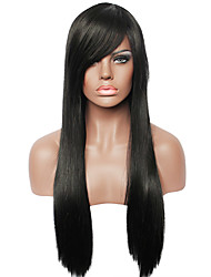Capless Natural Black Color Long Straight Fashion Real Human Hair Full Wig for Ladies