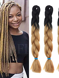 "Black Light Brown Rose Ombre Crochet 24"" Yaki Kanekalon Fiber 2 Tone 100g Jumbo Braids Synthetic Hair with Free Hook"