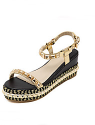 Women's Summer Wedges / Gladiator / Open Toe PU Outdoor / Office & Career / Dress Wedge Heel Rivet Black / Gold