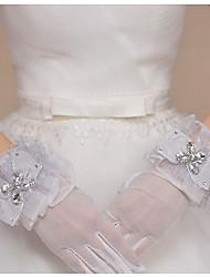 Handgelenk-Länge Fingerspitzen Handschuh Tüll Brauthandschuhe Party / Abendhandschuhe Frühling Sommer Herbst Schleife