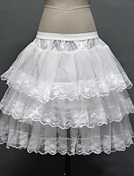 Anáguas Slip de Baile Longuete 3 Rede Tule Poliéster Branco