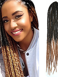 "Black Ombre Light Brown Senegal Crochet Twist Small Box Braid 24"" Kanekalon 3 Strand 80g Hair Braids"