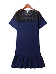 Mulheres Vestido,Casual / Tamanhos Grandes Simples Patchwork Decote Redondo Mini Manga Curta Azul / Preto / Amarelo Algodão Verão
