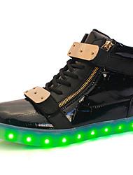 Men's Shoes LED Shoes High LED light luminous shoes USB charging Best Seller Casual Shoes Black / White / Red