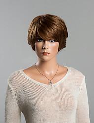 новое прибытие юношеский короткий слоистый прямой монолитным парик человеческих волос
