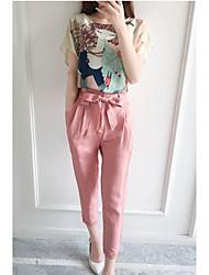 De las mujeres Simple Casual/Diario Verano Conjunto,Escote Redondo Estampado Manga Corta Algodón Rosa Medio