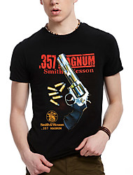 Men's Printing Pistol With Bullet Design Black 3D T-shirt in Spring And Summer