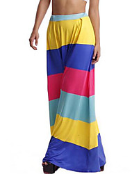 Women's Striped Pleated Slim All Match Fashion Rainbow Swing Multi-color Skirts,Boho Maxi