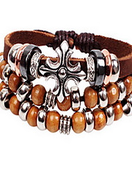 Bracelet Bracelets en cuir Cuir Forme de Cercle Mode / Bohemia style Quotidien / Décontracté Bijoux Cadeau Café,1pc
