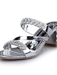 Women's Shoes Leatherette Summer Heels / Peep Toe Sandals Party & Evening / Casual Chunky Heel Crystal / Hollow-out