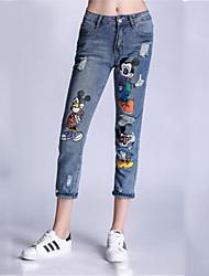 Women's Animal Print Blue Jeans Pants,Simple