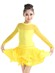 Children's Performance Milk Fiber Ruffles 1 Piece Long Sleeve Latin Dance Dresses