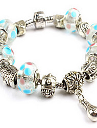 Light Blue Fine Styly Beads Strand Bracelet with Beautiful Pendant Charm Bracelet