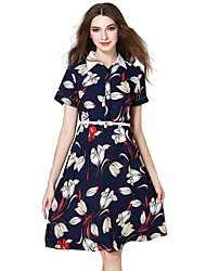 Women's Casual/Daily Simple A Line / Chiffon Dress,Floral Shirt Collar Knee-length Short Sleeve Blue Cotton