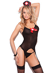 Women Gartered Lingerie / Suits Nightwear,SexyMedium Core Spun Yarn Black Women's