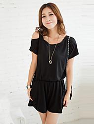 Women's Solid Black Jumpsuits,Vintage Round Neck Short Sleeve