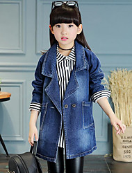 Girl's Casual/Daily Solid Jeans / Trench Coat,Cotton Spring / Fall Black / Blue