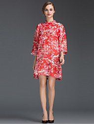 Women's Going out Simple Loose Dress,Floral Crew Neck Mini ¾ Sleeve Red Silk Summer Mid Rise