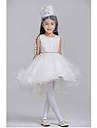 Ball Gown Asymmetrical Flower Girl Dress - Polyester Sleeveless Jewel with