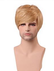 bonito penteado bonito curto peruca loira 100% humano reta