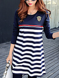 Casual/Daily Simple Loose Dress,Striped Round Neck Above Knee Long Sleeve Cotton Summer Micro-elastic Medium