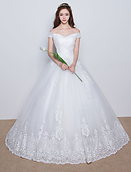 A-line Wedding Dress Floor-length Off-the-shoulder Satin / Tulle with Appliques / Criss-Cross / Lace