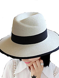 Women Straw Middle Brimmed Foldable Black and White Sun Hats