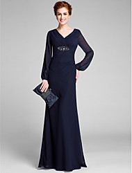Lanting Bride® Sheath / Column Mother of the Bride Dress Floor-length Long Sleeve with Crystal Detailing / Criss Cross