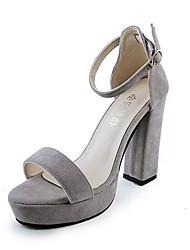 Damen-High Heels-Lässig-Vlies-BlockabsatzSchwarz Grau