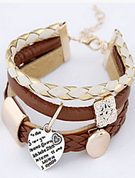 Beige Fabric Layered Leather Bracelet with Heart Pendant Christmas Gifts
