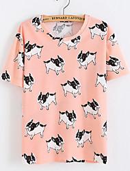 Damen Geometrisch Einfach Lässig/Alltäglich T-shirt,Rundhalsausschnitt Sommer Kurzarm Blau / Rosa Polyester Undurchsichtig