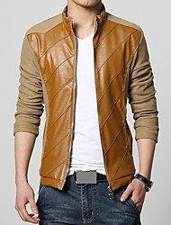 Men's Fashion PU Patchwork Stand Collar Outdoor Casual Slim Fit Jacket;Cotton/Patchwork/Plus Size