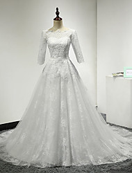 Ball Gown Wedding Dress Sweep / Brush Train Scoop Lace with Lace