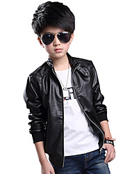 Boy's Spring/Autumn Medium-large Child Outerwear PU Leather Jacket
