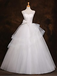 A-line Wedding Dress Floor-length Straps Tulle with Beading / Bow