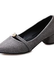 Черный / Серый / Оранжевый-Женский-На каждый день-Флис-На толстом каблуке-На каблуках-Обувь на каблуках