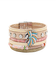 Fashion Women Multi Rows Pearl Beauty Head Leather Bracelet