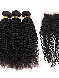"Brazilian Hair 3 Bundles with 1 Piece Lace Closure 4""x4"" Top Closure Unprocessed Kinky Curly Hair Weave"