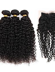 4 Peças Kinky Curly Tramas de cabelo humano Cabelo Brasileiro Tramas de cabelo humano Kinky Curly