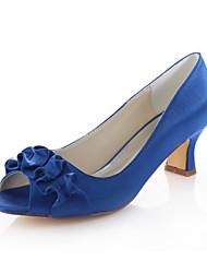 Damen-Sandalen-Hochzeit / Kleid / Party & Festivität-Stretch - Satin-Blockabsatz-Absätze-Schwarz / Blau / Lila / Rot