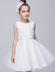 A-line Knee-length Flower Girl Dress - Cotton / Organza / Satin Sleeveless Jewel with Flower(s)